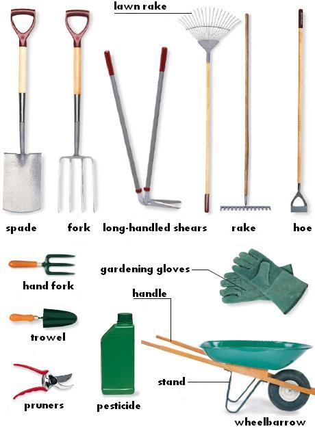 Garden tools : spade, fork, long-handled shears, lawn rake, rake, hoe, hand fork, trowel, pruners, pesticide, gardening gloves, wheelbarrow, stand, handle