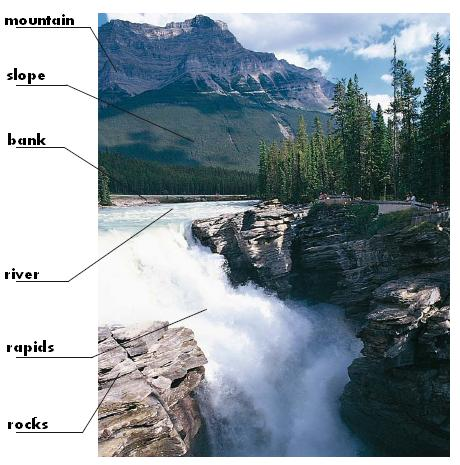Lanscapes : mountain, slope, river, rapids, rocks, bank